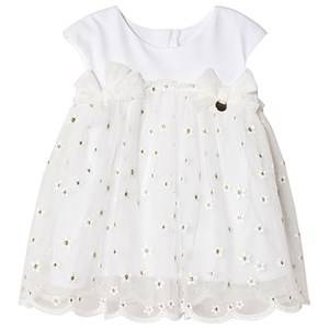 Image of Mayoral Floral Embroidered Tulle and Jersey Dress White 9 months