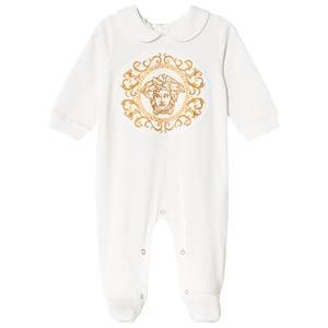 Image of Versace Embroidered Medusa Footed Baby Body White 6-9 months