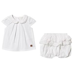 Image of Carrment Beau Anglaise Embroidered Shorts Tee Set White 9 months