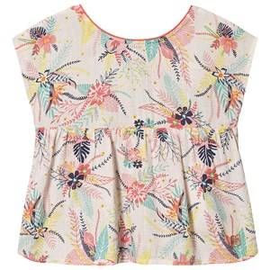 Image of Carrment Beau Tropical Floral Print Blouse White 3 years