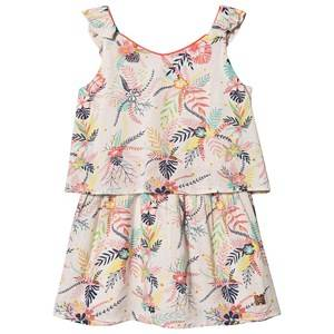 Image of Carrment Beau Tropical Floral Print Dress White 2 years