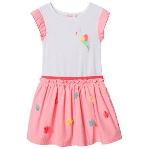 Image of Billieblush Flower and Flamingo Dress White/Fluorescent Pink 2 years