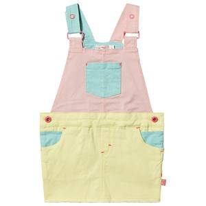 Image of Billieblush Color Block Denim Overalls Dress Yellow/Pink/Teal 8 years