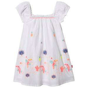 Image of Billieblush Toucan Embroidered Flounce Sleeve Dress White 4 years