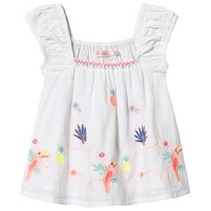 Image of Billieblush Embroidered Toucain Detail Smock Top White 3 years