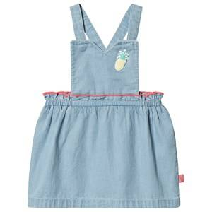 Image of Billieblush Chambray Pineapple Applique Overalls Dress Blue 9 months