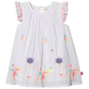 Image of Billieblush Toucan Embroidered Flounce Sleeve Dress White 12 months