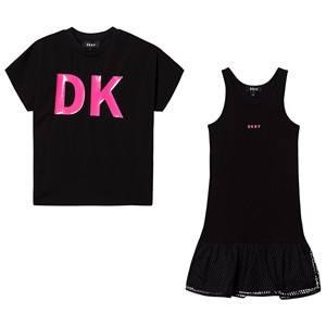 DKNY Logo Mesh Dress and Tee Set Black 16 years