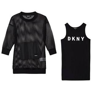 DKNY Logo Ribbed Dress and Mesh Top Set Black 10 years