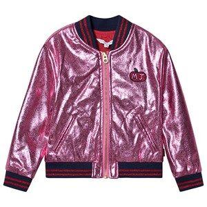 Little Marc Jacobs Bomber Jacket Apple Applique Logo Metallic Pink 4 years