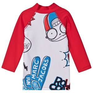 Little Marc Jacobs Mr Marc Peace Rash Guard Top White/Red 2 years