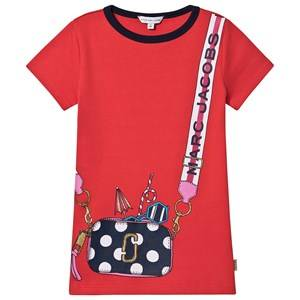 Image of Little Marc Jacobs Cross Body Bag Print T-Shirt Dress Red 2 years