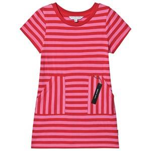 Image of Little Marc Jacobs Tag Print T-Shirt Dress Pink Stripe 2 years