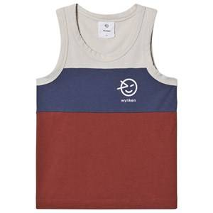 Image of Wynken Logo Tank Top Blue/Deep Coral/Ecru 2 Years