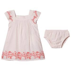 Image of Carrment Beau Pink Swiss Spot Floral Embroidered Dress with Bloomers 6 months