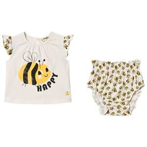 The Bonnie Mob Bee Happy Balearic Top & Bloomers Set Off White 3-6 Months