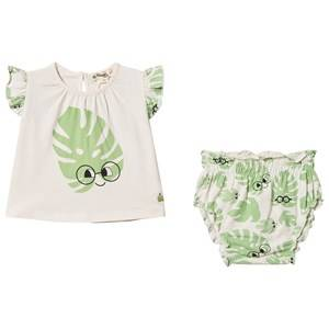 The Bonnie Mob Leaf Balearic Top & Bloomers Set Off White 18-24 Months