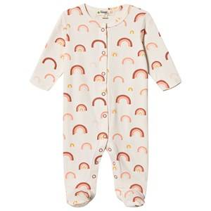 Image of The Bonnie Mob Peach Rainbow Brighton Footed Baby Body Off White 9-12 Months