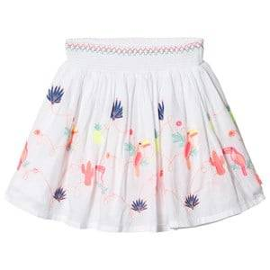 Image of Billieblush Embroidered Toucan Detail Smock Waistband Skirt White 3 years