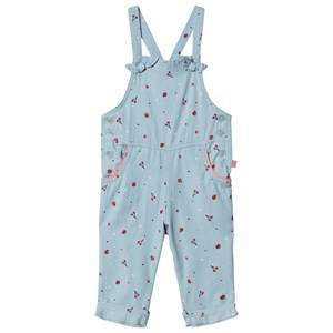 Billieblush All Over Cherry and Apple Print Overalls Blue Chambray 6 years