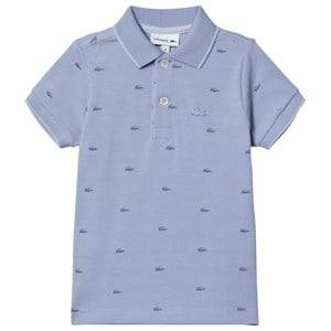 Lacoste All Over Crocodile Branded Pique Polo Pale Blue 10 years