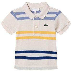 Lacoste Stripe Branded Pique Polo Cream/Multi 10 years