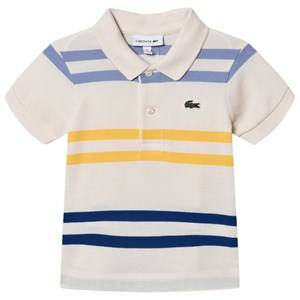 Lacoste Stripe Branded Pique Polo Cream/Multi 2 years
