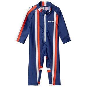 Mini Rodini One-Piece Rashguard Swimsuit Stripe Blue 104/110 cm