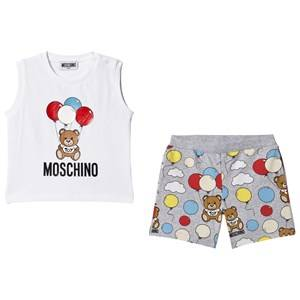 Image of Moschino Kid-Teen Balloon Bear Tank Top and Shorts Set White/Grey 2 years