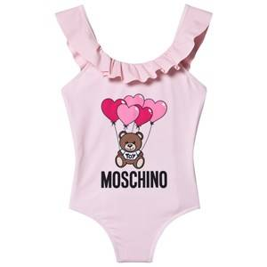 Moschino Kid-Teen Hearts Balloon Logo Swimsuit Pale Pink 5 years