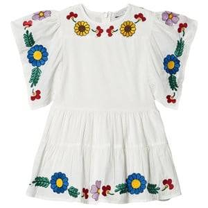 Image of Stella McCartney Kids Floral Embroidered Kimono Dress White 2 years