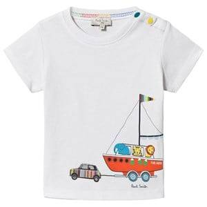 Image of Paul Smith Junior Aldred 3 Mini and Animal Boat Print Tee White 2 years