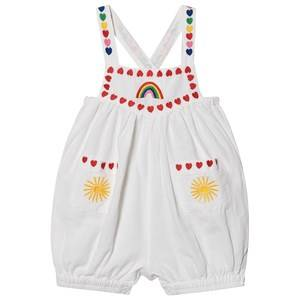 Image of Stella McCartney Kids Embroidered Hearts Linen Romper White 6 months