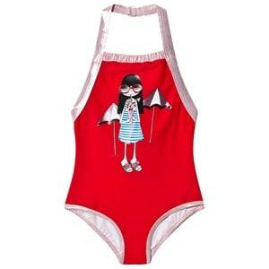 Little Marc Jacobs Pink and Rose Gold Miss Marc Swimsuit in Gift Pouch 8 years