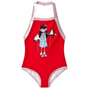 Little Marc Jacobs Pink and Rose Gold Miss Marc Swimsuit in Gift Pouch 5 years