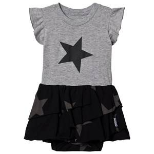 NUNUNU Star Layered Baby Body Dress Heather Grey 0-6 Months