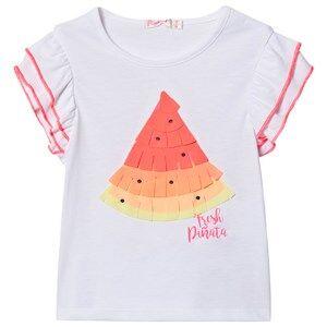 Image of Billieblush Ruffle Sleeve Watermelon T-shirt White 8 years