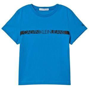 Image of Calvin Klein Jeans Logo Stripe Tee Coastal Blue 8 years