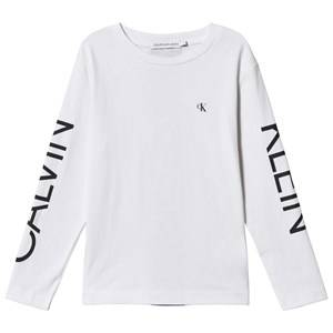 Image of Calvin Klein Jeans Logo Long Sleeve Tee Bright White 8 years