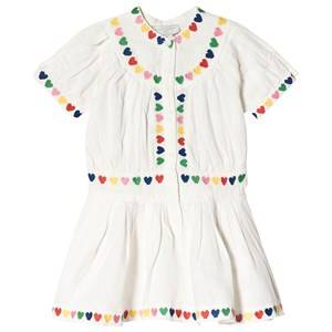 Image of Stella McCartney Kids Embroidered Hearts Linen Dress White 4 years
