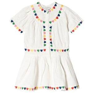 Image of Stella McCartney Kids Embroidered Hearts Linen Dress White 8 years