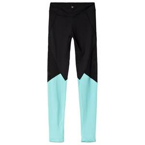 Image of Bloch Colour Panelled Leggings Black/Turquoise 8 years