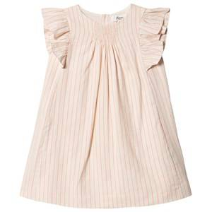Image of Bonpoint Stripe Ruffle Sleeve Dress White/Fluro 6 years