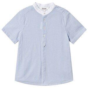 Bonpoint Stripe Short Sleeve Shirt Blue/Cream 4 years