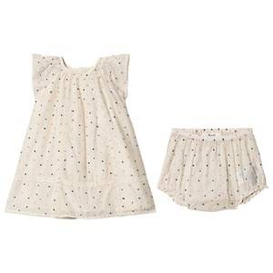 Image of Bonpoint Embroidered Spot Lace Trim Dress White/Multi 3 years
