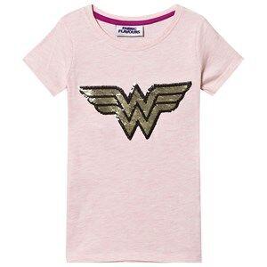 Fabric Flavours Wonder Woman Logo Flip Sequin Tee Pink 5-6 Years
