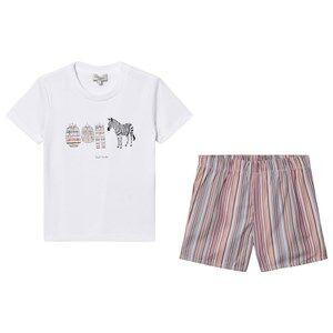 Paul Smith Junior Tee and Shorts Pyjamas Set Stripe/White