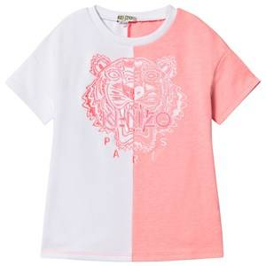 Image of Kenzo Color Block Embroidered Logo Jersey Dress Pink/White 4 years