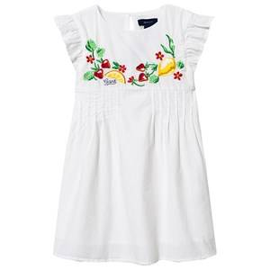 Image of GANT Ruffle Sleeve Fruit Embroidered Dress White 110-116cm (5-6 years)