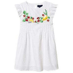 Image of GANT Ruffle Sleeve Fruit Embroidered Dress White 92cm (2 years)